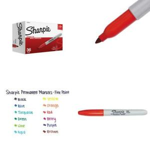 Sharpie Permanent Markers Fine Point Red 36 Count