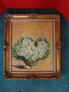Vintage Large Victorian Style Gold Guild Picture Frame W Floral Picture 26 X30