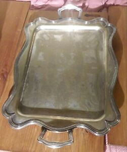 Bscep Large Barbour Silver Over Copper Platter With Sterling Silver Mounts