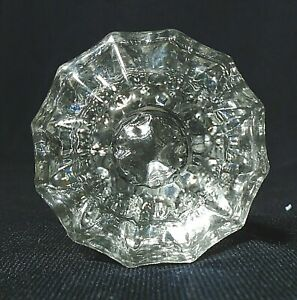 Glass Door Knob Set With Shaft Star Design Excellent Cond