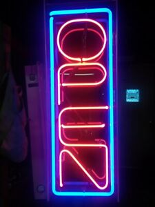 Neon Large Bright Vertical Light Open Sign Business Shop Store
