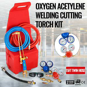 Gas Welding Cutting Kit Oxy Propan Oxygen Torch Brazing Fits 10 Hose W red Tote
