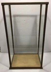 Vintage 19 1 2 Metal Glass Doll Or Display Case Painted Gold