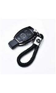 Keychain Key Fob Chain Ring Black Leather For Mercedes Benz