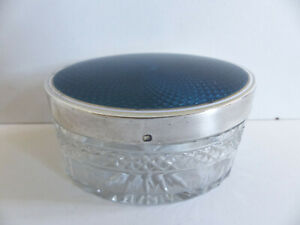 Superb Antique French Silver 950 Blue Guilloche Enamel Baccarat Crystal Box