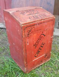 Large Country Store Wooden Coffee Bin In Original Red Paint And Decoration