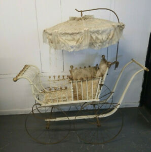 Antique Large Wicker Baby Carriage Buggy With Parasol Umbrella By Gendron