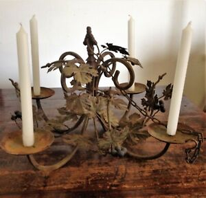 Antique Rustic Wrought Iron Hanging Chandelier Candle Holder Italian Tole Vines