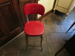 Vintage Red Cosco Stool Kitchen Metal Mid Century Modern Side Chair