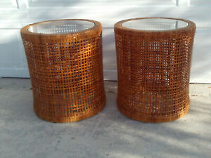 Vintage Pair Of Round Wicker Rattan Open Weave Drum Side Tables Stands Glass Top