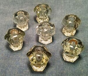 Set Of 7 Vintage Clear Glass 6 Sided Drawer Pulls 1 Diameter 1 1 4 Deep 111