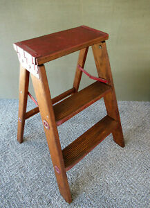 Vintage 3 Step Stepstool Folding Wood Stool Ladder Red Paint 23 Tall Sturdy