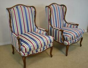 Pair Wing Back Chairs Meyer Gunther Martini Down Cushions Blue Pink Stripe