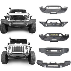 5 Styles Front Bumper W led Lights Textured Black For Jeep Wrangler 2007 2018 Jk
