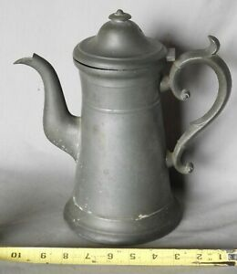American Antique Pewter Rufus Dunham Maine Coffee Pot 19th C Lighthouse Form