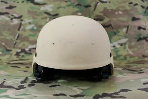 Armor Source XL ACH Tan 3 Hole Drilled Full Cut MICH Helmet w Pads