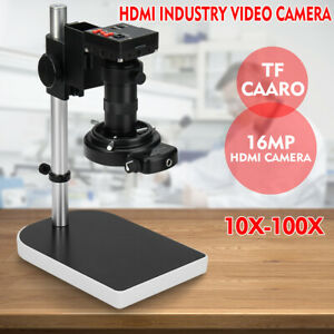 16mp 10x 100x Lens 1080p Industrial Digital Microscope Camera Hdmi C mount Video