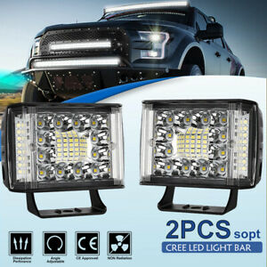 Pair 4 95w Side Shooter Cree Led Light Pods Offroad Truck Pickup Atv Utv 3 5 7