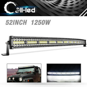 52 Inch 1250w Curved Led Light Bar 3 Tri row Driving Off road Combo Drl Fog 52