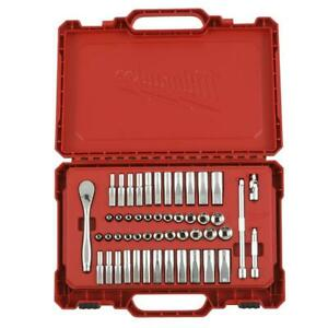 Milwaukee 1 4 Drive 50pc Ratchet And Socket Tool Set W Removable Tray Case