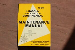1960 Lincoln Continental Service Manual Excellent