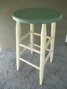 Vintage Stool Primitive Oak And Pine Wood 24 Tall Round Seat Stand Paint