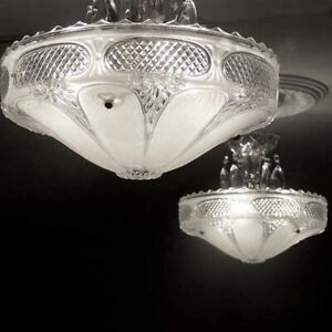 472 Vintage 40 S Ceiling Light Lamp Fixture Chandelier 3 Lights White 1of 2