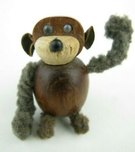 Vintage Teak Wood Monkey Pin Mid Century