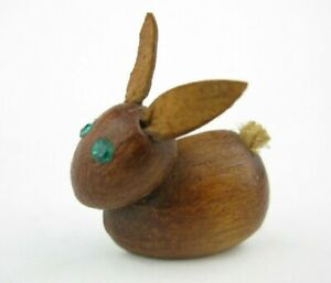 Vintage Teak Wood Bunny Rabbit Pin Mid Century