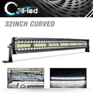 32 In Curved Work Led Light Bar Combo For Jeep Offroad Rhino Sandrail Boat Suv