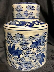 Chinese Blue And White Porcelain Ginger Jar Pot Tea Caddy Koi Fish 6 5