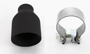 Matte Black 4 Round Dual Wall Exhaust Tip Angle Cut 2 1 4 Inlet Clamp
