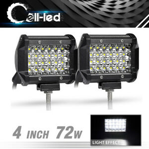 Pair 4inch 72w Quad Row Led Work Light Driving Offroad For Suv Truck Fog Lights