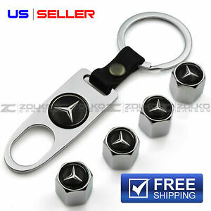 Valve Stem Caps Keychain Keyring Wheel Tire For Amg Mercedes Benz Key Fob Keys