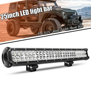 2rows 25inch 1360w Led Light Bar Flood Spot Offroad Pickup For Jeep Ford 20 24