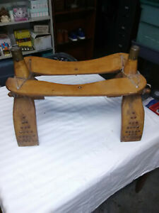 Vintage Egyptian Camel Saddle Cultural Foot Stool With Brass Ornamentation