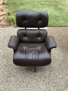 Vintage Eames Herman Miller Lounge Chair Brown Leather