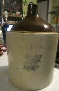 Antique Vintage Western Stoneware Pottery Gray Brown Jug 11x7