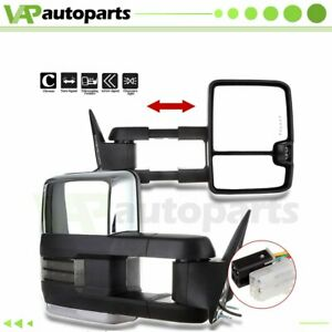 Power Chrome Smoke Led Signals Tow Mirrors Pair For 1988 1998 Gmc 1500 2500 3500