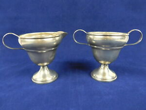 Antique Ns Co Sterling Silver Open Sugar Bowl And Creamer Weighted 3 5 Inch Tall