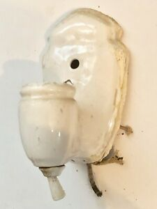 Vintage Porcelain Bathroom Hall Light Fixture Wall Sconce 9 W Pull Chain Outlet