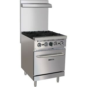 Commercial Kitchen 4 Burner Gas Range Natural Gas 24 With Oven