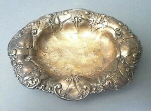 Antique Sterling Silver Repousse Oval Bowl Dish W Flowers