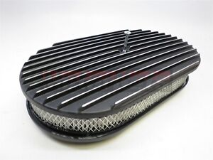 15 Oval Fin Black Aluminum Air Cleaner Nostalgic Ford Chevy Retroclassic Ratrod