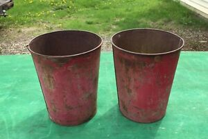 2 Old Reddish Tin Sap Buckets Maple Syrup Planters Flowers Great