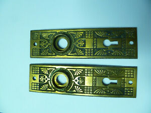 Set Of 2 1888 Victorian Eastlake Brass Door Plates 1 5 8 X 5 1 16