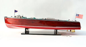 Chris Craft Triple Cockpit 32 Handmade Wooden Model Speed Boat