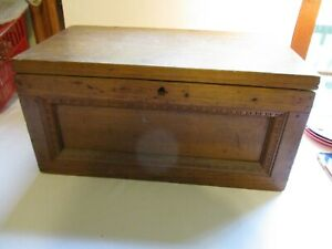 Antique Heavy Early 1900 S Wooden Hope Chest Blanket Box Beautiful Detail