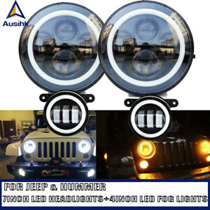 Black 7 Led Headlight Projector Assembly 4 Fog Light Passing Led For Jeep Us