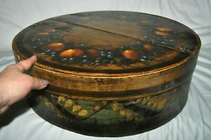 Look Rare Peter Empire Hand Painted Folk Art Large Wood Box 21 D Signed